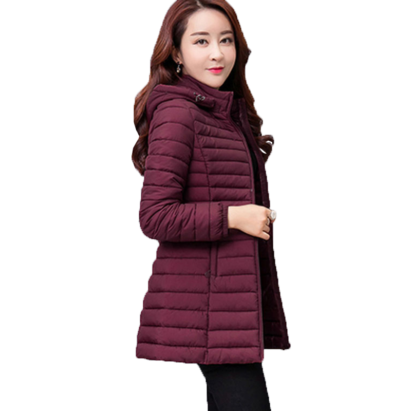 Women Autumn Winter Jacket Parkas 2019 New Solid Hooded Medium Long Outerwear Slim Plus Size 7XL Female Down Cotton Jacket W33(China)
