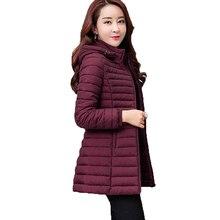 Women Autumn Winter Jacket Parkas 2019 New Solid Hooded Medi