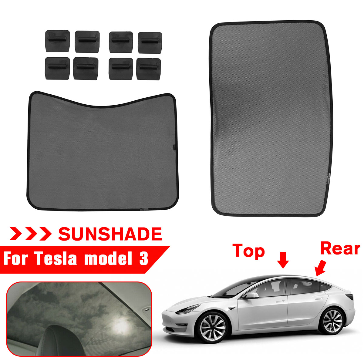 Car Mesh Front Rear Sunshade Cover for Tesla Model 3 Skylight Screen Shade Heat Insulation Roof