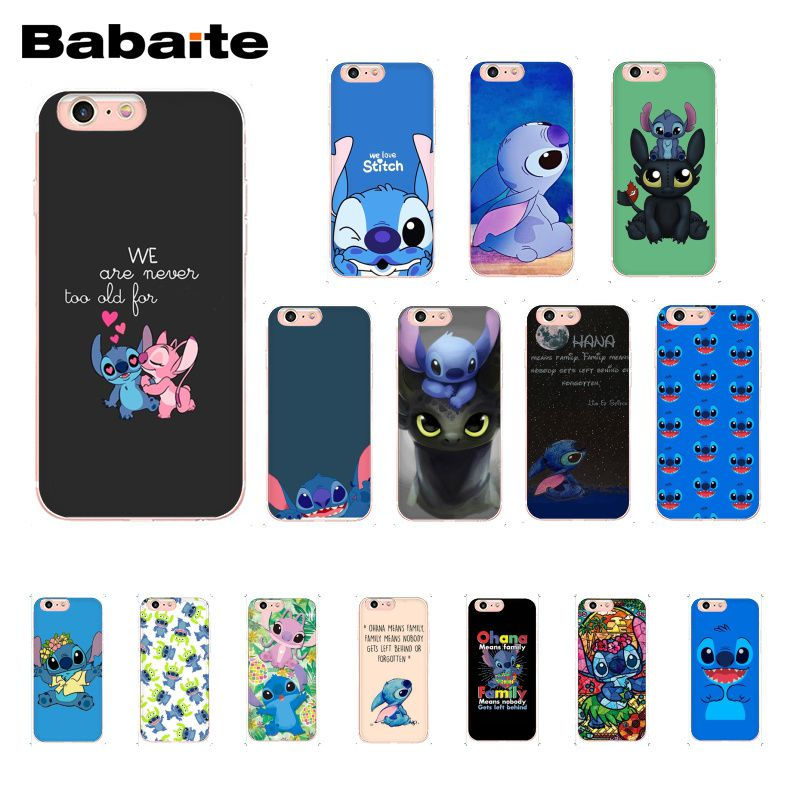 Babaite cute cartoon Lilo Stitch TPU Phone Case Cover Shell for iPhone 8 7 6 6S Plus 5 5S SE XR X XS MAX 10 Coque Shell