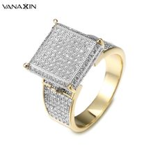 VANAXIN Square Micro Paved AAA Cubic Zirconia Crystal Rings For Men Iced  Out Hip Hop Ring Gold Silver Color Christmas Gift Box 85c7eb47b1fa