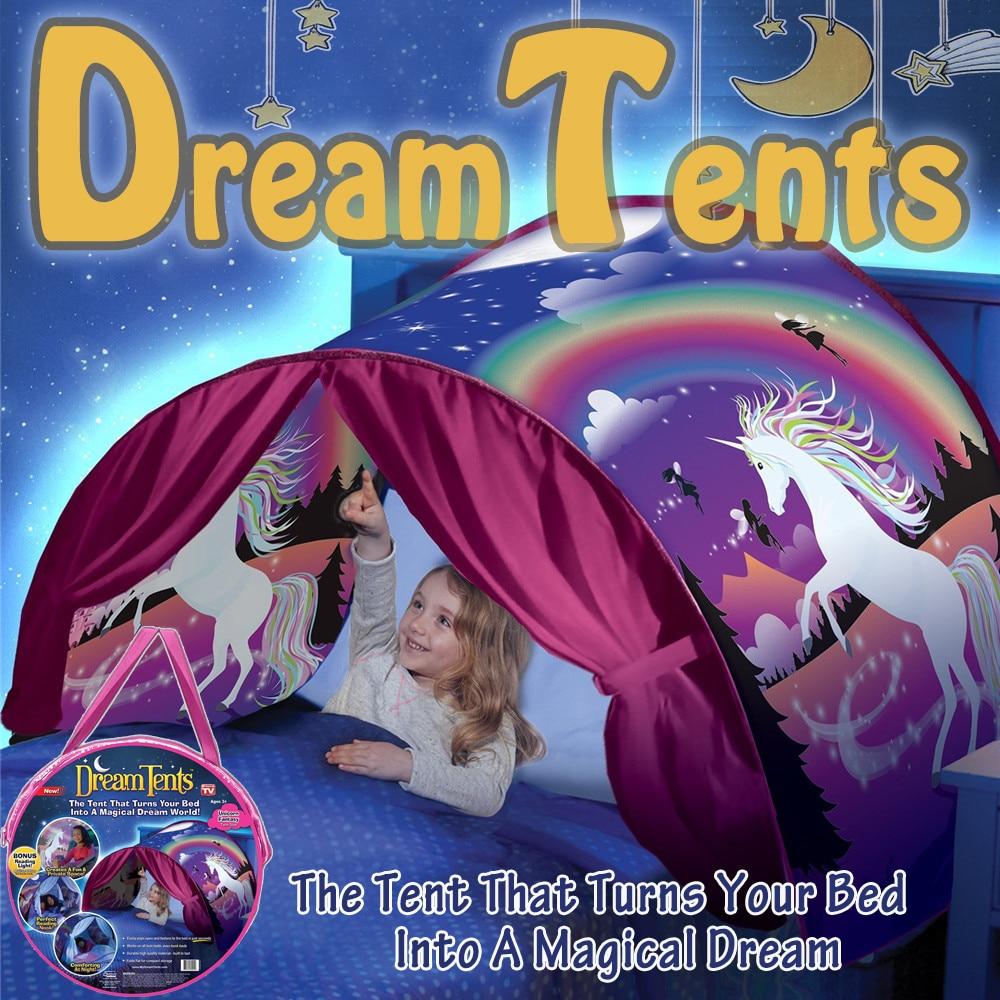 Dreamsoule Детские космические приключения мечта палатка Портативный Складная Открытый Пеший туризм палатка кровать палатка для детей Единорог Фэнтези