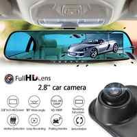 Nova completa hd 1080 p carro dvr câmera auto 2.8 Polegada espelho retrovisor digital de vídeo câmera do carro de lente dupla câmera traço cam para auto