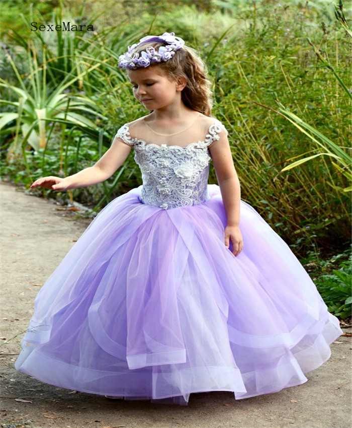 749db96f1 Handmade Luxurious Lavender Flower Girl Dress with 3D Floral Lace ...