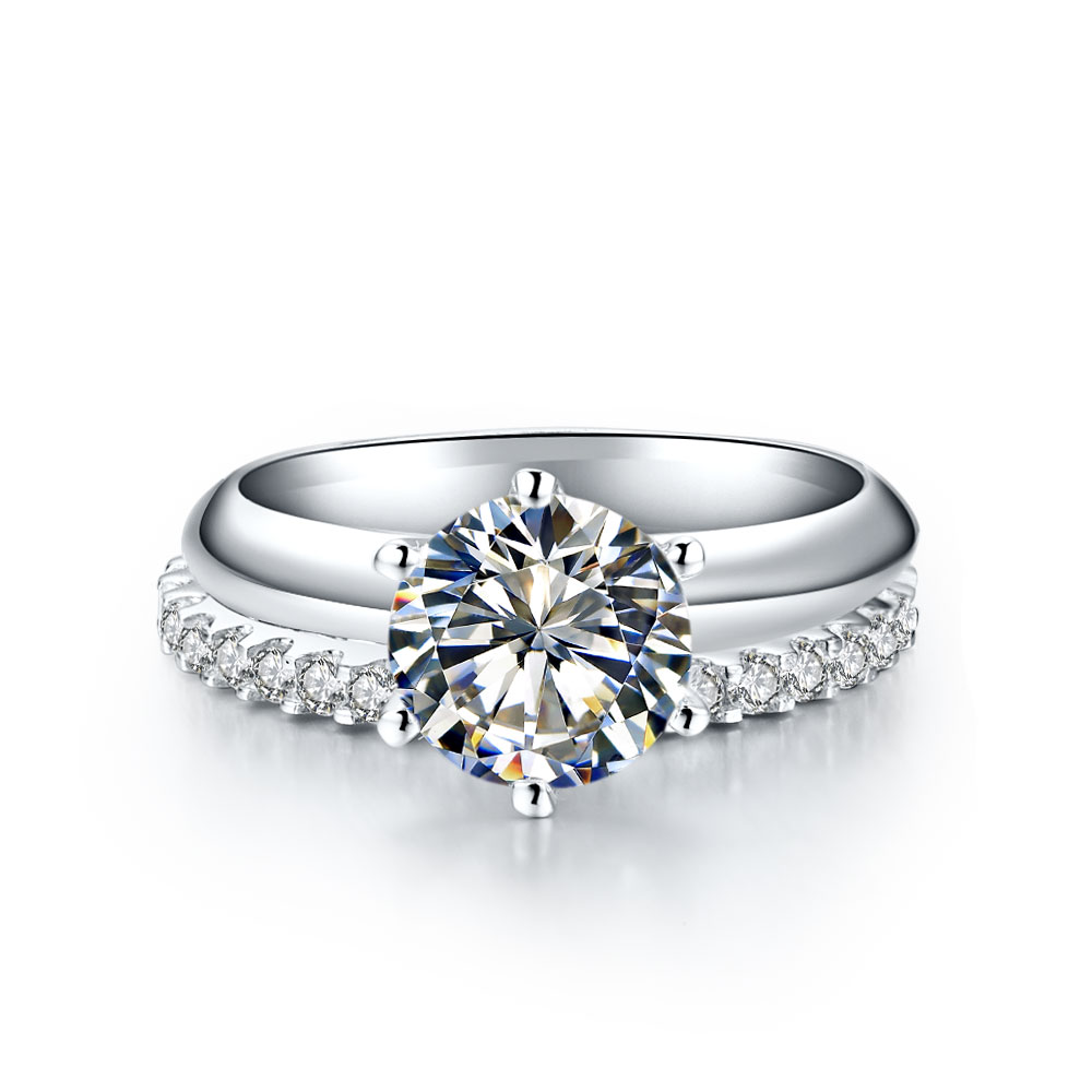 Sterling Silver Wholesale Rings Set 15CT Engagement Ring 055CT
