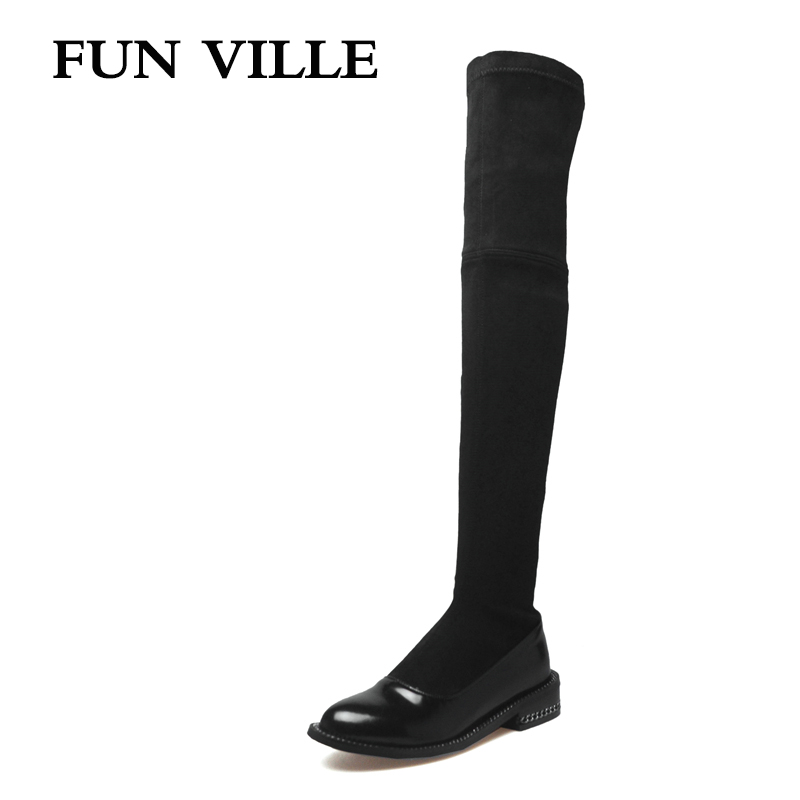 FUN VILLE 2018 New Fashion winter Women over the knee Boots Genuine leather + PU Sexy Ladies shoes Round toe slip-on size 34-42 fun ville 2018 new fashion women flats shoes genuine leather sheepskin casual shoes square heel 4cm round toe lace up size 34 43