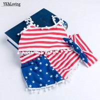 EMS DHL Free Kids Baby Girls Infants Summer Stripe Star Suit American 4th Of July Fourth