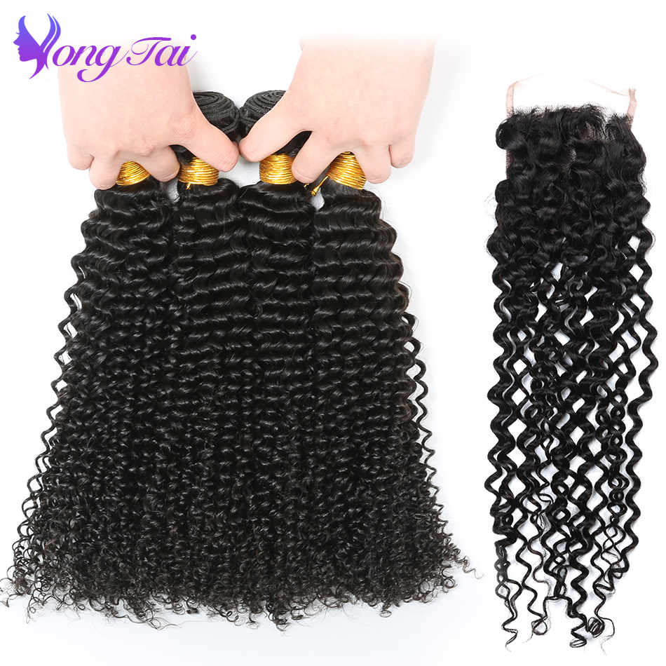 Yongtai Brazilian Hair Weave Bundles With Closure Afro kinky Curly Hair Extension With Lace Closure For Black Woman 5Pcs NonRemy