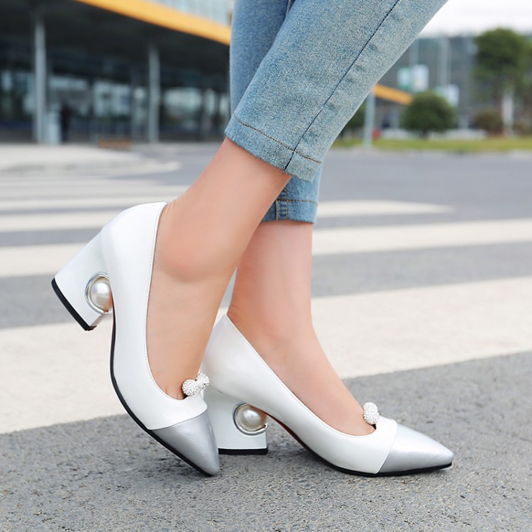 Big Size 11 12 13 14 15 16 17  Ladies High Heels Women Shoes Woman Pumps   Rough Heel Shallow Mouth Package The Heel Water Drill