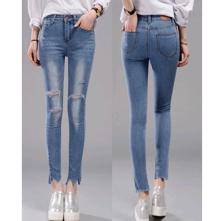 26 34 Big lady solid pencil pants Holes Ankle length regular softrner skinny Elastic jean women
