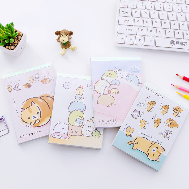6 sets/lot,Notepad Cute Stationery Corner creature kawaii sticker sticky notes memo pads mini message post notebook /papelaria