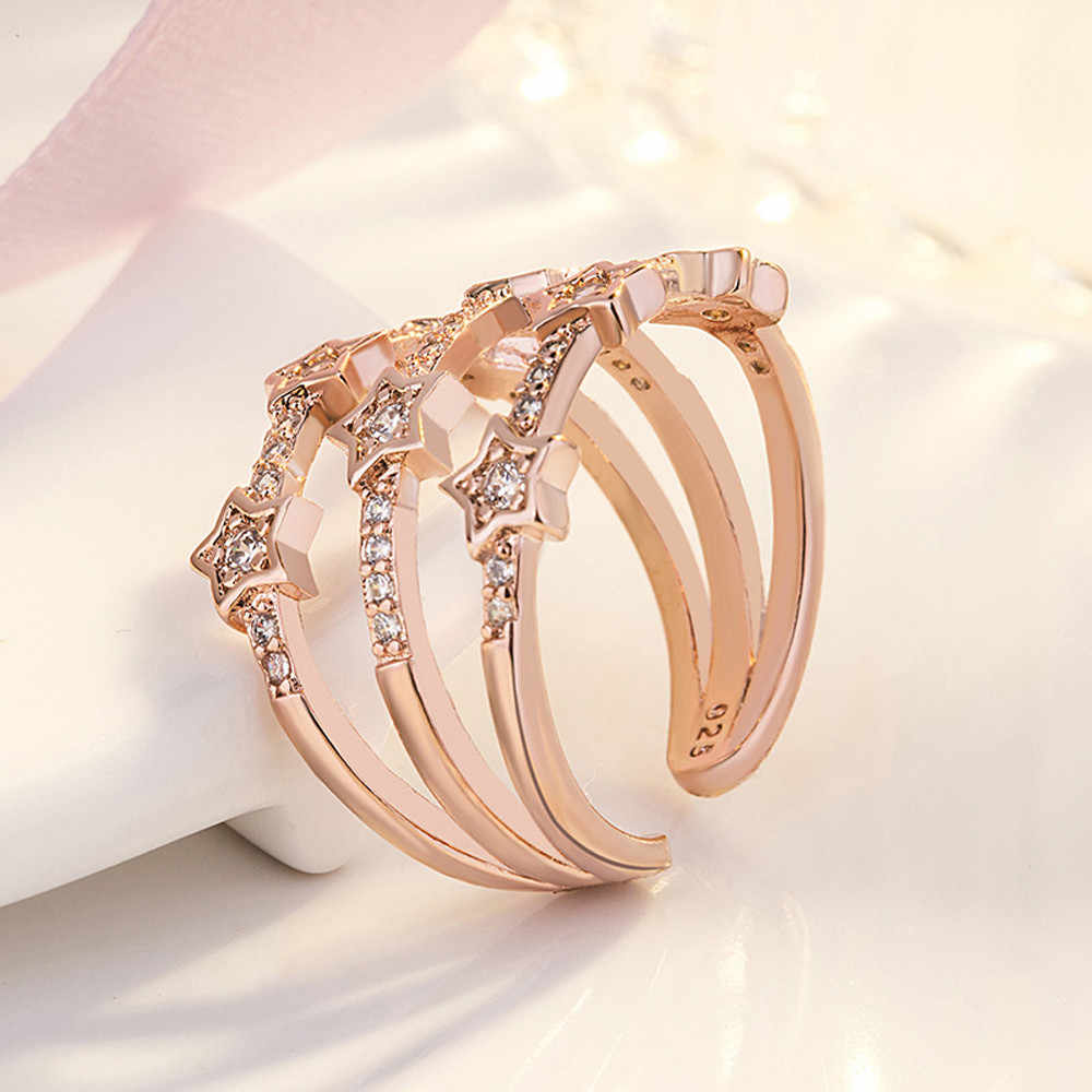 1PC Silver Rose Gold Color Delicate Hollow Ring Cubic Zircon Star Adjustable Opening Finger Rings for Women Wedding Jewelry Gift