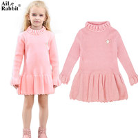 AiLe Rabbit 2017 Autumn Winter Girls Dress Long Sleeve Sweater Dress Corsage Loudspeaker Sleeves High Quality