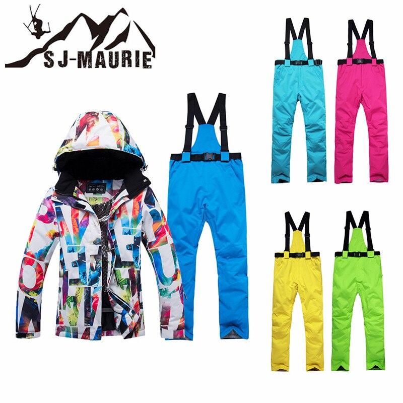 SJ-MAURIE femmes Ski costume hiver veste pantalon snowboard costume hiver tenue de ville coupe-vent imperméable neige veste de Ski