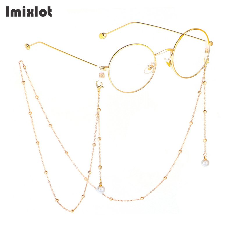 Fashion Reading Glasses Chain For Women Metal Sunglasses Cords Simulated Pearl Eyeglass Lanyard Hold Straps Eyewear Accessories