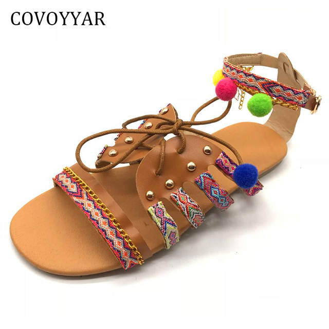 d5f628cebed64 placeholder COVOYYAR 2019 Cute Furry Ball Women Boho Sandals Nation Style Lace  Up Flat Women Shoes Summer