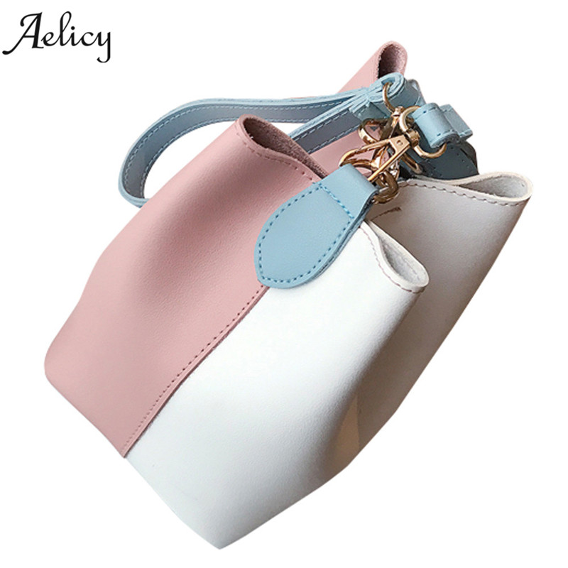 Aelicy dropshipping new 2019 hot SALE Fashion Women Leather Wide Handbag Patchwork Shoulder Crossbody Bucket Bag bolsa feminina
