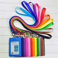 New Candy Colors ID Holders Bank Credit Card Holders Unisex PU Leather Neck Strap Working Badge with Lanyard Wholesale ZC009