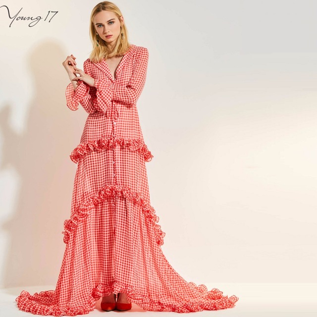 b7890f57c956d Young17 Pink Red Plaid Layered Long Asymmetrical Dress Petal Sleeve Ruffle  Belt Women Sexy Lapel Deep V Party Maxi Dress Gown-in Dresses from Women's  ...