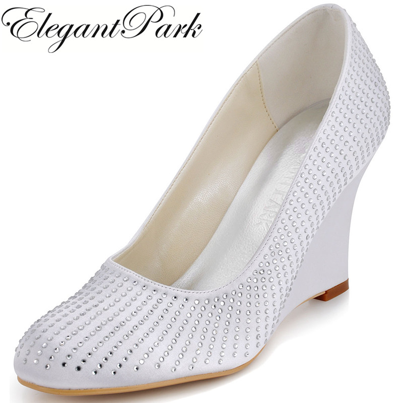 EP2002 Fashion Woman Wedding Pumps White Ivory Round Toe Satin Rhinestones women Wedges Prom Shoes Woman wedding bridal Shoes