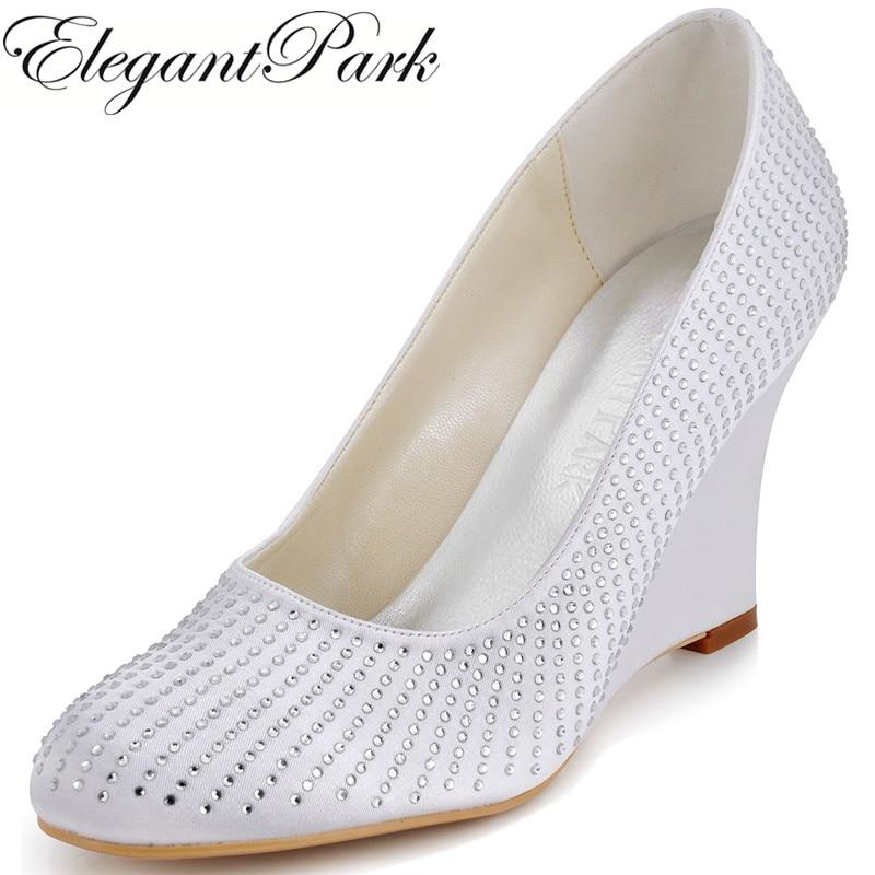EP2002 Fashion Woman Wedding Pumps White Ivory Round Toe Satin Rhinestones women Wedges Prom Shoes Woman wedding bridal Shoes