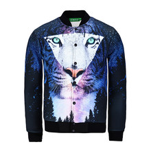 New 3D Cotton Jacket Men Women Tiger Forest Galaxy Creative Sweatshirt Baseball Coat Animal Leopard jacket College Plus Size(China)