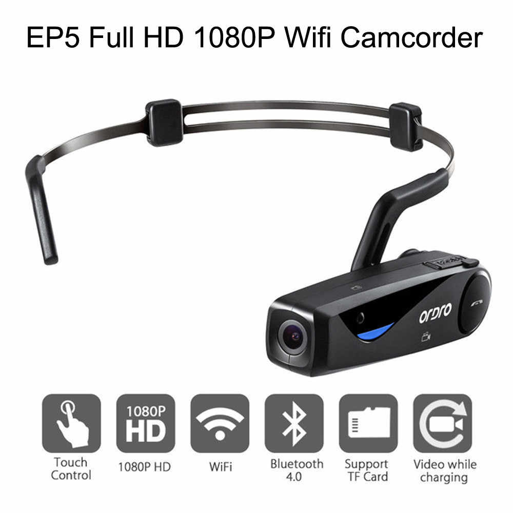 2019 New ORDRO EP5 Head Action Mini DV Camcorder Full HD 1080P Video Camera Wifi  Expandable SD card to 64GB Speaker Built in