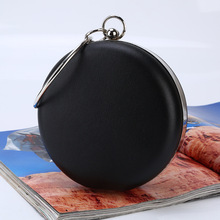 new pu leather round evening handbag handmade simple style night clube party clutch casual leisure