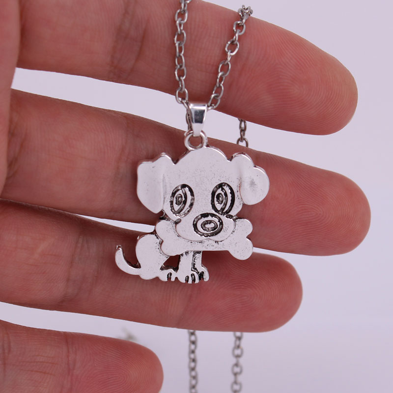 hzew dogs necklaces gift little dog and bone pendant necklace in Chain Necklaces from Jewelry Accessories