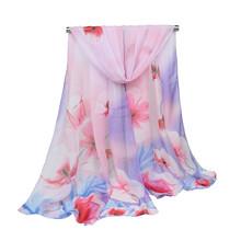 Women long scarf elegant flower chiffon warm soft shawl long scarf winter fashion scarves