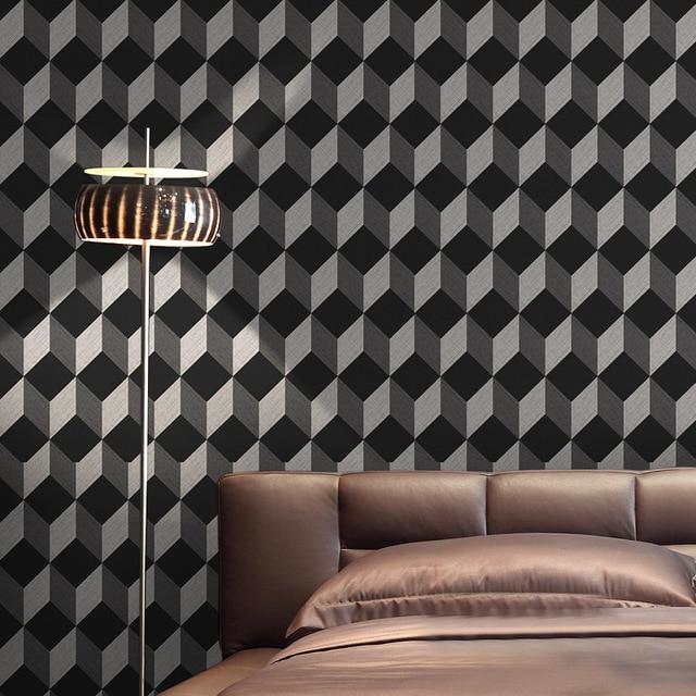 Salon De Coiffure Moderne Cube Papier Peint 3D Pour Salon Murs Tv Noir  Papel De Parede