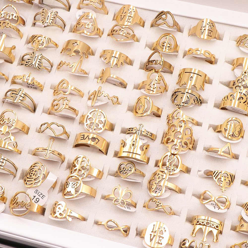 50Pcs/lot Mix Random Style Laser Cut Pattern Golden Color Stainless Steel Rings Women Party Ring