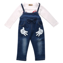 2017 Hot Toddler Girls Baby 0 Neck T shirt and Bib Denim Pants Outfits Set Clothes