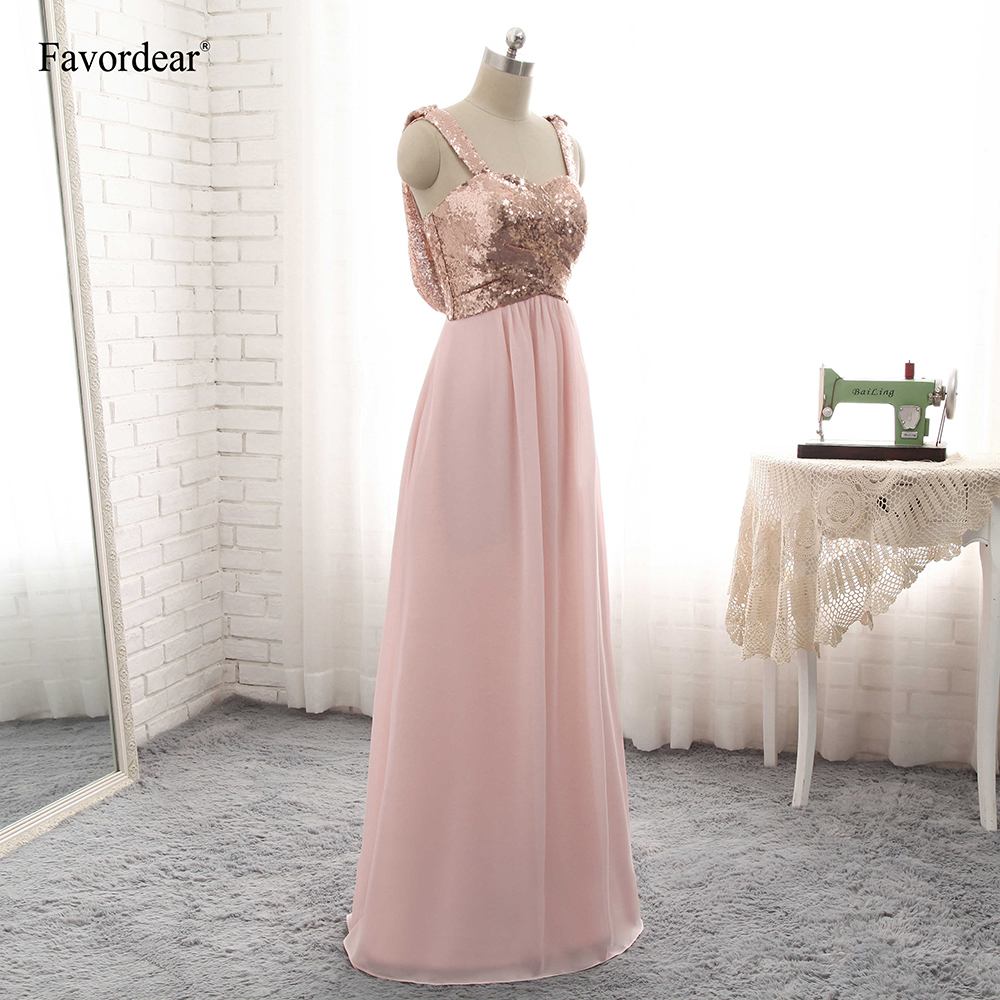 Favordear Prom Dress A Line Backless Rose Gold Sequin Chiffon ... 17b0ee7abad6