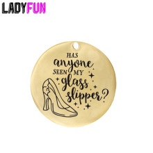 Ladyfun Customizable Stainless Steel Charm Cinderella Fairy Pendant Has Anyone Seen My Glass Slipper Charms for jewelry making