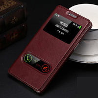 High Quality Hot Flip Ultrathin View Window Leather Cases For Samsung Galaxy E5 E5000 E7 E7000 Case Luxury Phone Cover