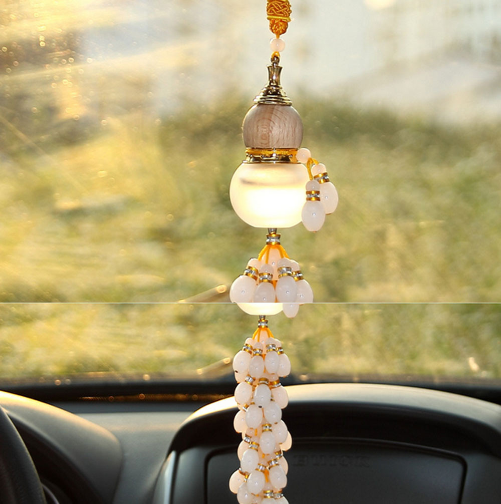 Car interior hanging - Car Styling Car Jushi With High Grade Glass Hanging Jewelry Gourd Filled With Perfume Car Interior Decoration Accessories