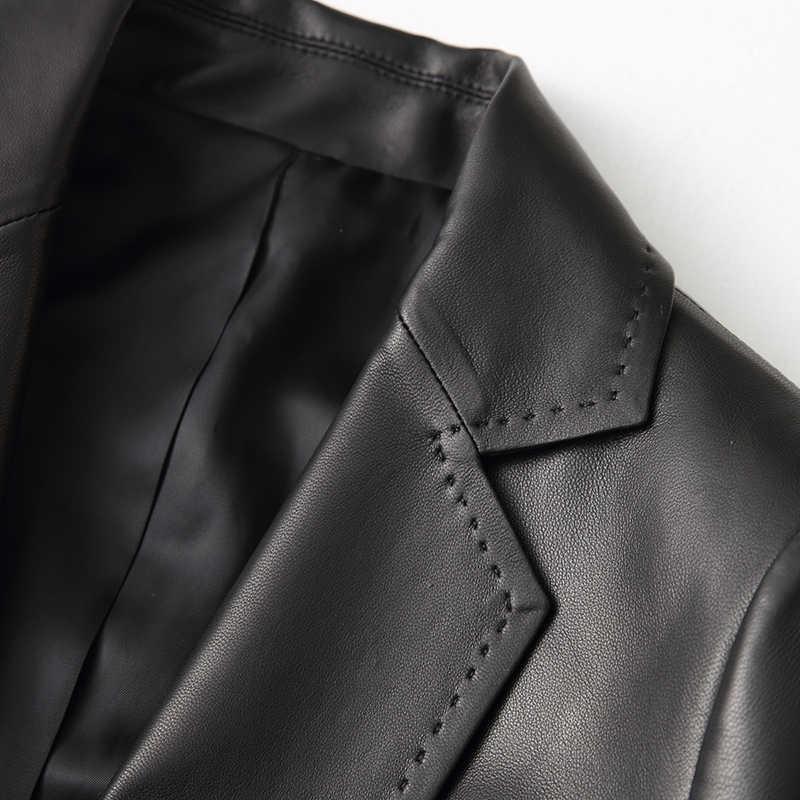 AYUNSUE, Женская Повседневная куртка из натуральной кожи, 2019, весна, новинка, настоящая овечья кожа, пальто для женщин, тонкая женская куртка, верхняя одежда YY1089A