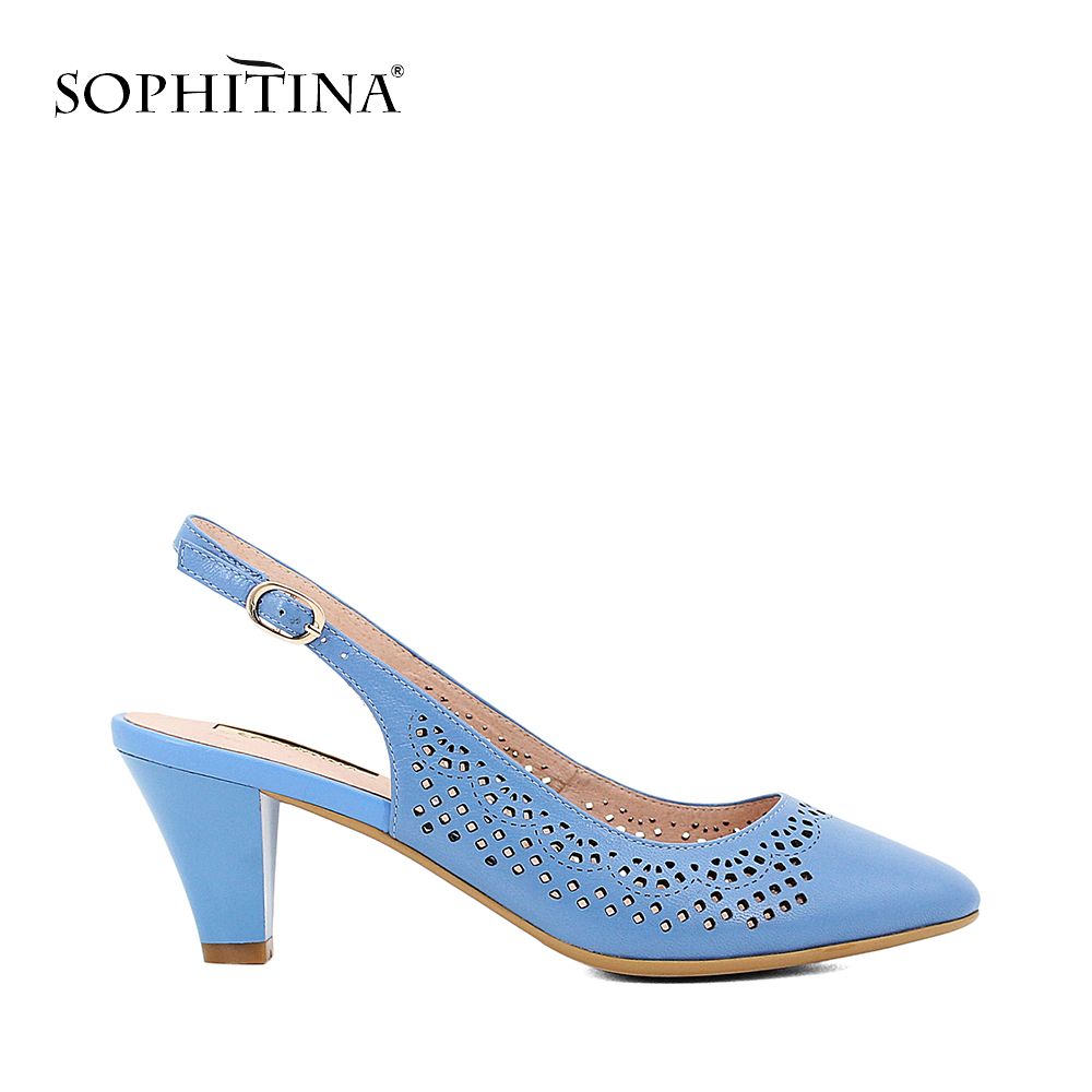 SOPHITINA Handmade Sheepskin Sandals Women High Quality Sexy Back Strap Shoes Solid Elegant Office Lady Party