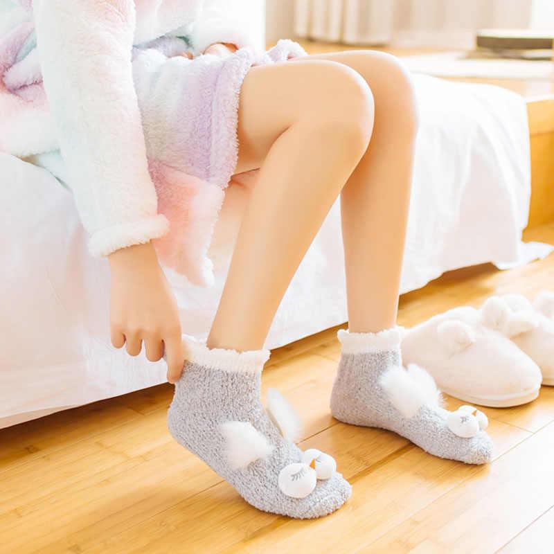 סתיו וחורף אלמוגי קטיפה שינה גרב נשי צינור עיבוי חם עגול עיניים גדולות בית החלקה מגבת חמוד ילדה גרבי רצפה