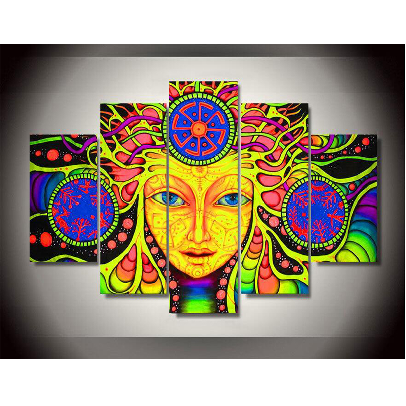 Buy canvas printed psychedelic mandala for Cadre multi photos mural