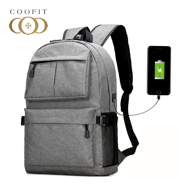 Coofit Casual Oxford Men Backpack Useful USB 16-inch Laptop Backpack Male Travel  Rucksack Large Capacity School Bookbag For Boys b86f449f93aa4