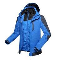 2016 популярная брендовая зимняя куртка мужская плюс бархат теплый ветер с капюшоном зимняя куртка Женские Восхождение на лыжах ветрозащитн