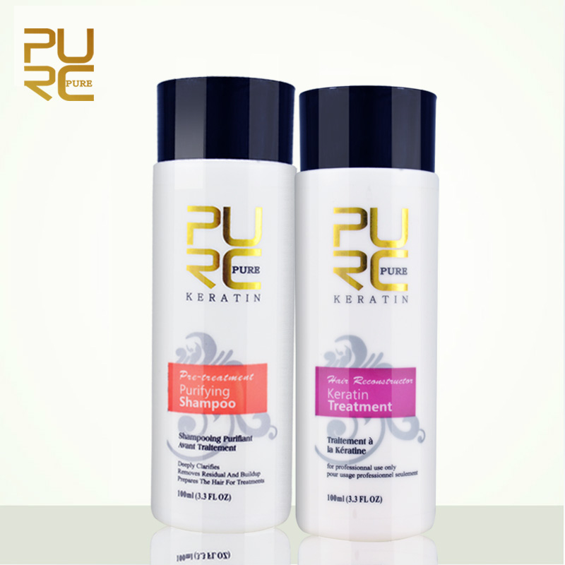 PURC Straightening hair Repair and straighten damage hair products Brazilian keratin treatment + purifying shampoo PURE 11.11 1x purc 12