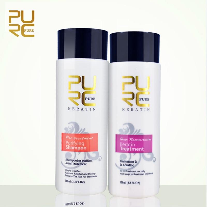 Reproductores alisar el cabello de reparación y arreglar daños brasileño de los productos del pelo de la queratina tratamiento + champú purificante 11,11 puro