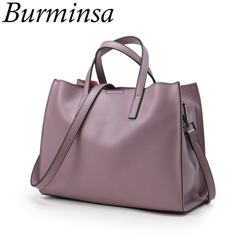 Burminsa Classic Genuine Leather Handbags Ladies Famous Brand Bucket Tote Messenger Bags Shoulder Crossbody Bags For Women 2018 burminsa brand winter round saddle genuine leather bags smiley designer handbags high quality shoulder crossbody bags for women