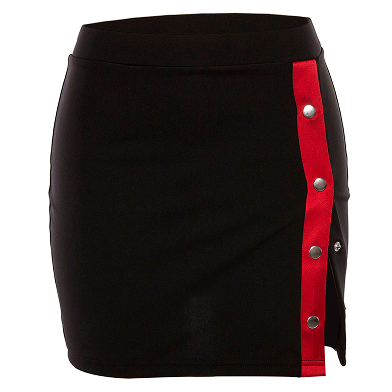 2019 Fashion Women High Waist Ladies Skirts Button Patchwork A Line Skirts Sexy Bodycon Party Casual Mini Skirt Femme
