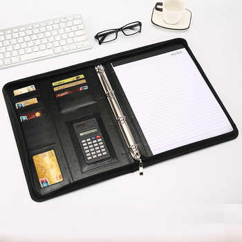 A4 Document Folder PU Leather Zipped Ring Binder Conference Bag Business Briefcase Office School Supply With Calculator Notebook - DISCOUNT ITEM  42% OFF All Category