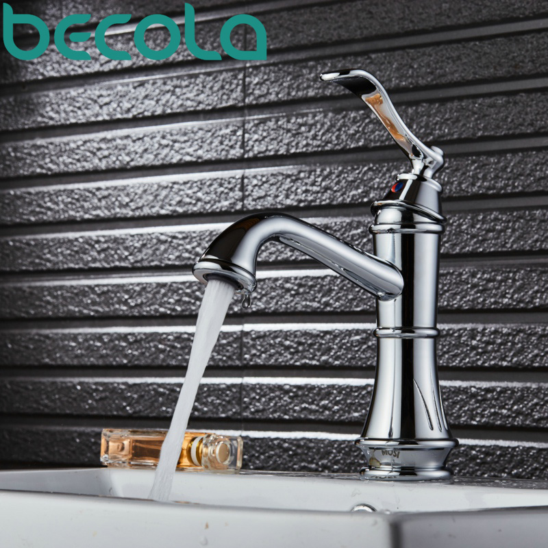 becola new design bathroom faucet black and brushed nickel basin tap high quality solid brass sink faucet B-431C fashion design goose neck brass robinet bathroom basin tap faucet