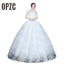 Корейский стиль свадебное платье размера плюс свадебное новое модное платье vestido de noiva длина до пола Иллюзия вырез лодочкой robe de mariee